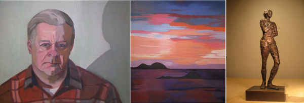 "Deborah LaCroix's repertoire includes portraits, landscapes and sculpture. From left to right: ""Chuck,"" ""Cariacou Sunset,"" ""Amour."""