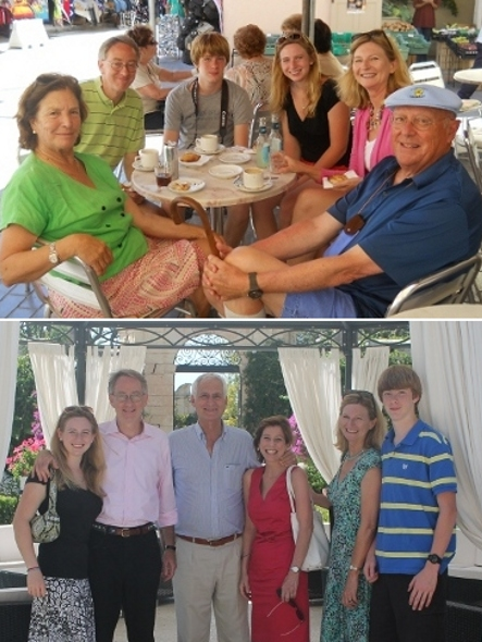 The author, her family, and her hosts in Malta. Top: Former Maltese Ambassador John Lowell, right; his wife, Marie-Therese, left. Bottom center: Former Ambassador Mark Miceli and wife Josette (photos courtesy of Mary Beth Ray)