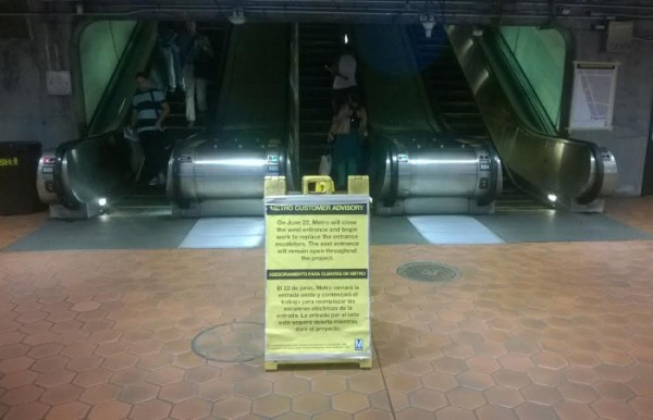 Metro placed signs warning of the west entrance closure on Tuesday, June 16th.  The agency also stationed workers outside the entrance to hand out flyers outside the station the rest of the week, and an information table at the UDC farmers market on Saturday.
