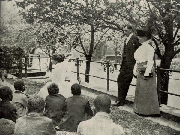 """Dr. Lucy E. Moten (1851-1933), principal of Miner Normal School from 1883-1920, observing student teacher in action. Next to her is John Nalle, superintendent for DC """"Colored schools."""" (photo courtesy UDC Archives)"""