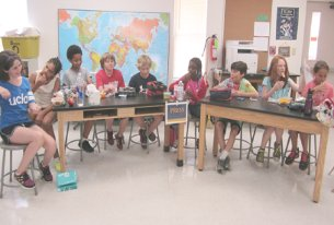 """These fifth graders produced """"The Murch Blue & Gold"""" newspaper."""