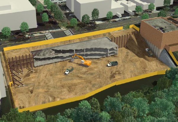 The demolition work is taking place underground, too, and goes all the way to the Connecticut Avenue curb. (Rendering provided by Saul Centers during the Nov. 11th community meeting)