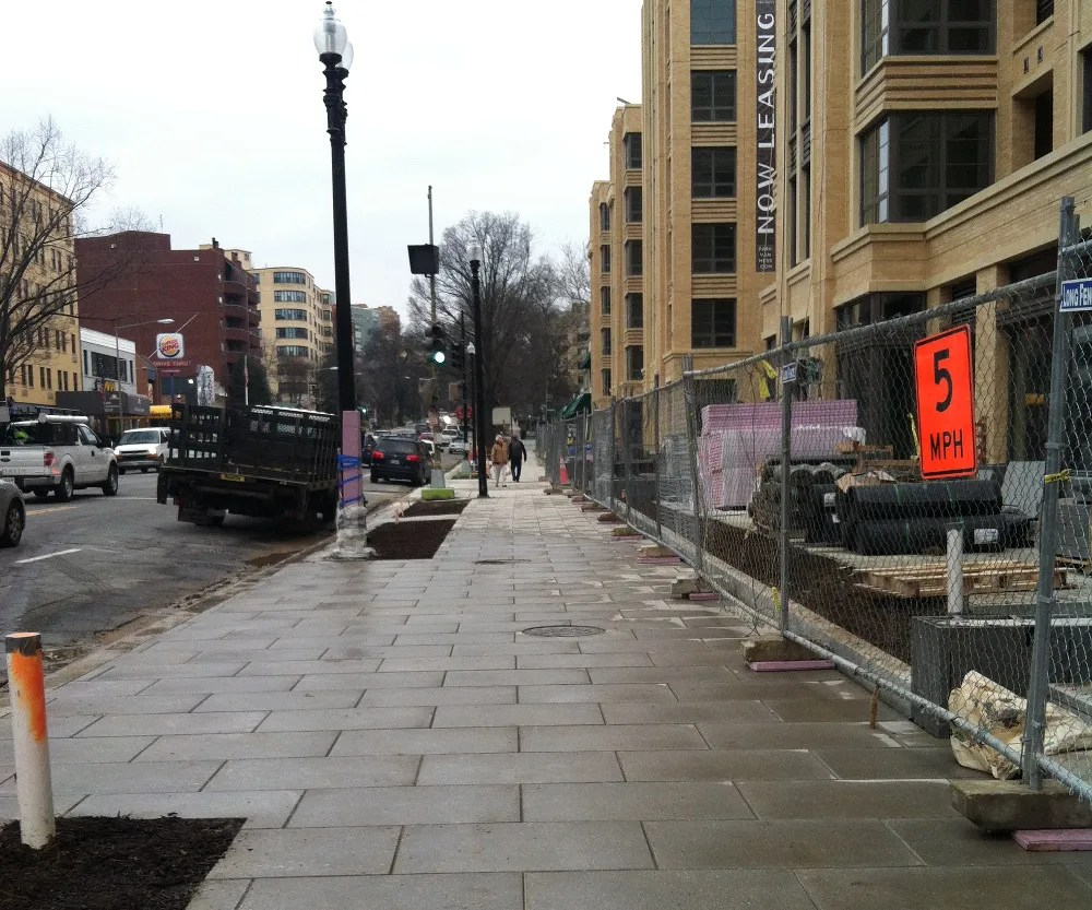 The brand new sidewalk at Park Van Ness (4455 Connecticut Avenue NW). (photo courtesy Richard Houghton of Saul Centers)