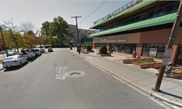 Proposed location for a new AU shuttle bus stop, directly behind the Metrobus stop in front of the Sears appliance store. (Google Streetview image)
