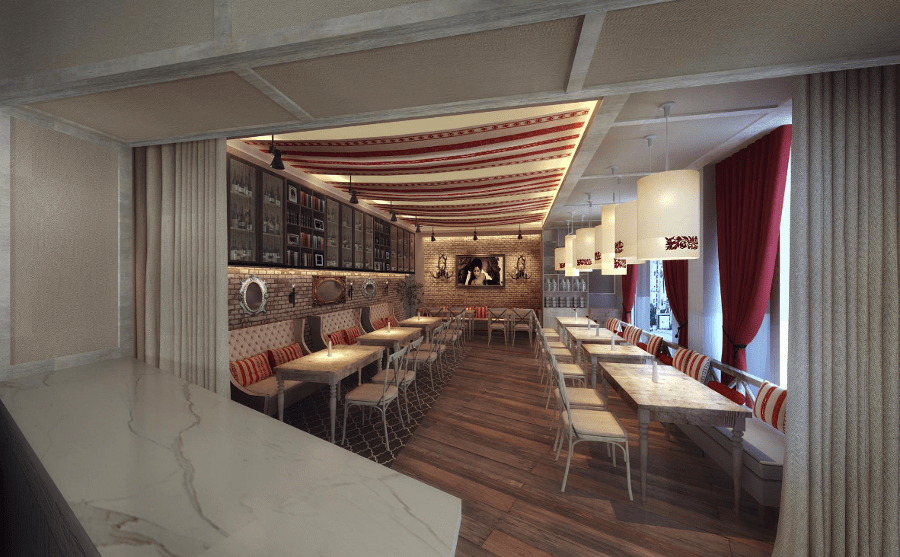 An artist's rendering of Sfoglina's main dining room.