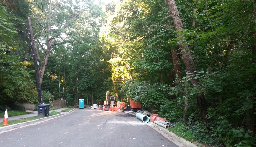 DC Water's staging area on the east end of Audubon Terrace. (photo by Marjorie Share)