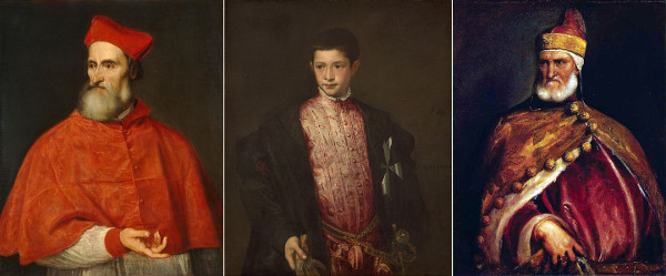 "From left to right: Titian's ""Portrait of Cardinal Pietro Bembo"" (1540), ""Ranuccio Farnese"" (1542), ""Portrait of Doge Andrea Gritti"" (circa 1540). (photos of the artwork are from Wikimedia Commons)"