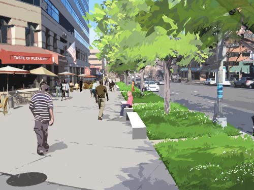 Engineers will be working from conceptual images like this rendering of the 4200 block of Connecticut  Ave. (image courtesy of the DC Office of Planning)