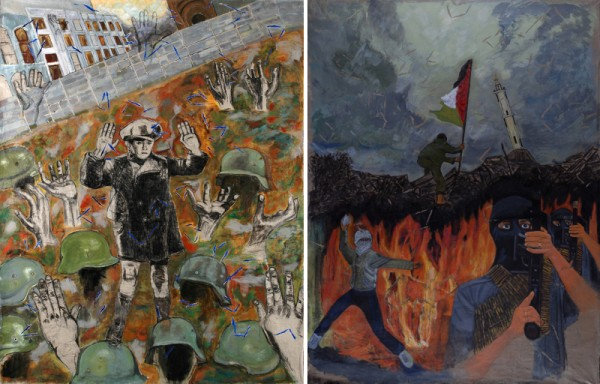"Left: ""Warsaw Ghetto Uprising: Victory in Defeat,"" charcoal and acrylic on canvas, 4.9' x 6.8' high, 2009. Right: ""For Our Beautiful Earth,"" acrylic on linen, 5.2' x 6.5' high, 2009. (photos by Jean-Pierre Théreau)"