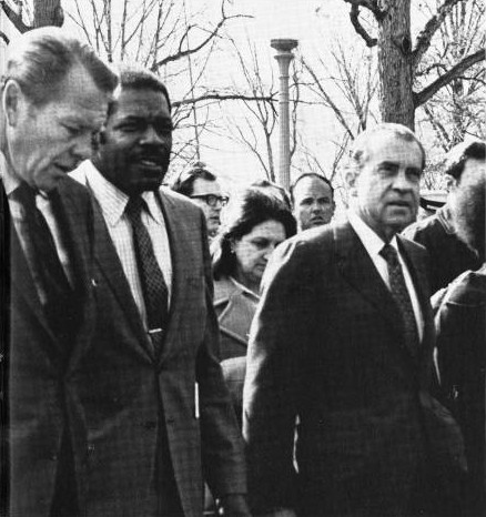President Dennard and President Nixon tour WTI at Van Ness, March 14, 1969. (photo from HBCU Library Alliance)