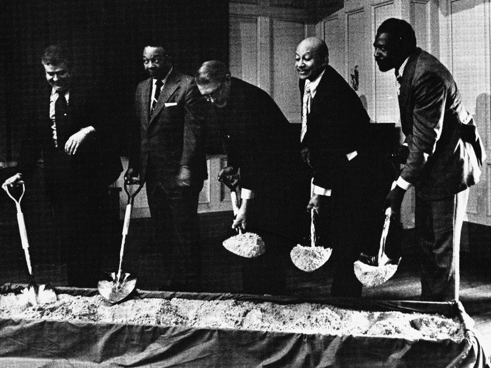 WTI's ceremonial groundbreaking. GSA Administrator Sampson, Mayor Washington, Congressman Nelsen, WTI Board Chairman Nabrit and President Dennard broke ground together indoors because of stormy weather. (photo from HBCU Library Alliance)