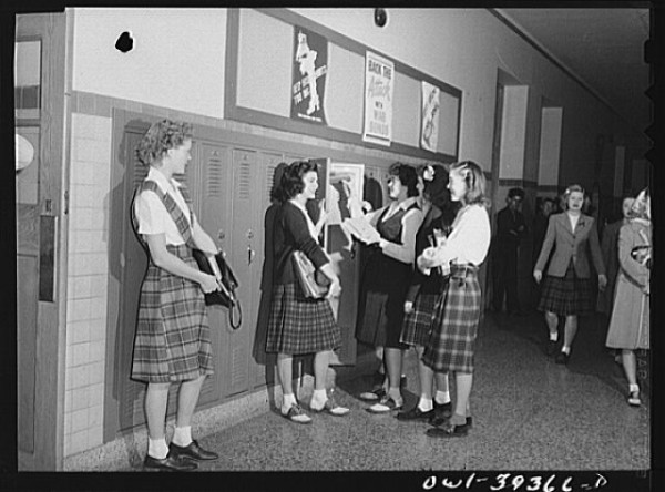 These 1943 Wilson High School students were more concerned about the war effort than about high-stakes tests. (photo from loc.gov)