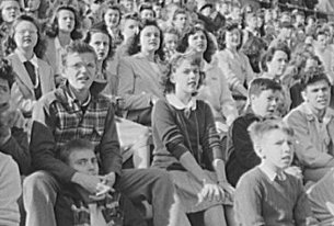 Fans watch a football game at Wilson High in 1943. (photo courtesy Library of Congress)