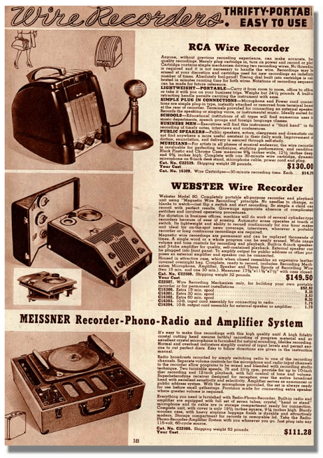 A 1948 ad for wire recorders, from reel2reeltexas.com.