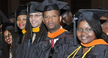 Some of the graduates at UDC's 2014 spring commencement.