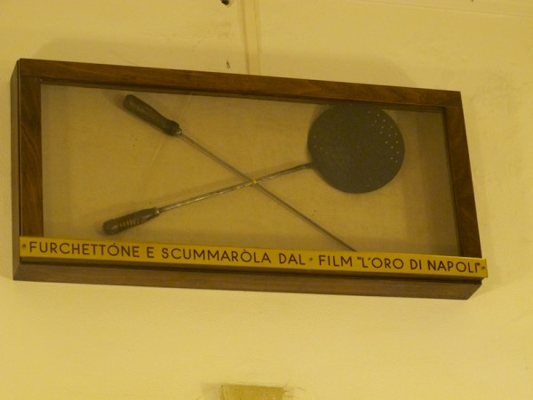 "Pizzamaking utensils featured in the movie ""The Gold of Naples."""