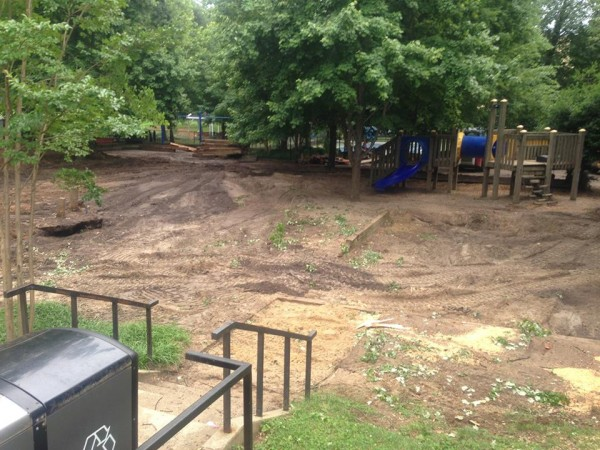 The sandbox, firetruck, playhouse and the largest of the two climbing structures were removed by the end of the first week of demolition.