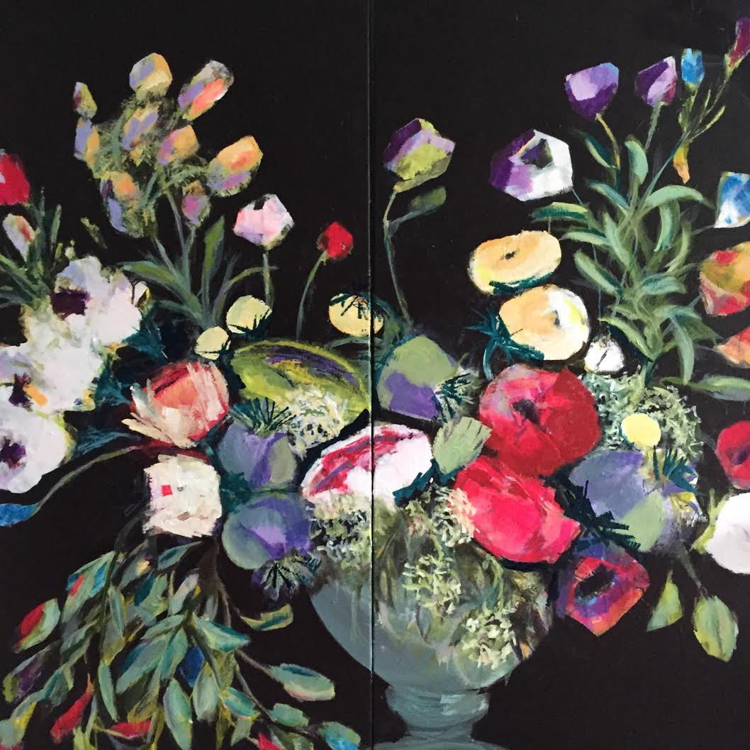 Michelle Sloane, Flowers in Urn, 2015. Acrylic on two 24x48-inch diptych canvas
