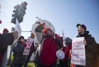 Patricia Brantley, of Forest Park, chants on Wednesday, Nov. 6, 2019, during a strike by middle managers. | ALEX ROGALS/Staff Photographer