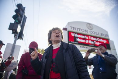 Randi Weingarten, American Federation of Teachers president, visits the picket line on Wednesday. | ALEX ROGALS/Staff Photographer