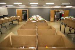 Boxes filled with non perishable food items for families in need are set up on tables ready to be delivered on Wednesday, Nov. 27, 2019, at the Howard Mohr Community Center on Des Plaines Avenue in Forest Park, Ill. | ALEX ROGALS/Staff Photographer