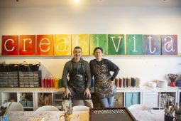 Creativita owners Massimo and Jessica Luciano opened shop at 7512 Madison St. in 2014. Since then, they have expanded their offerings to include not just canvases but pottery, mosaic art, wineglass painting and more, plus special events like painting with a real-life sloth. | Alex Rogals, Staff Photographer