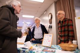 Forest Park's Environmental Commissioners Etta Worthington and David Guylas meeting fellow residents during the Leap Day History & Community Festival in Forest Park | SHANEL ROMAIN/Contributor