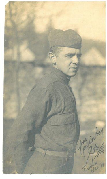 Joey Kloboucnik, 22, serving in France in 1919 | Photo courtesy of Dave Marcinkus