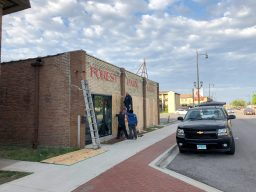 Forest Park Auto, 7535 Roosevelt Rd., boarded up on June 1 as a precaution against potential looting