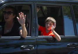 Parents and students drove by Betsy Ross School during the goodbye parade for Leslie Compere and Bill Milnamow on June 8. | Alex Rogals, Staff photographer