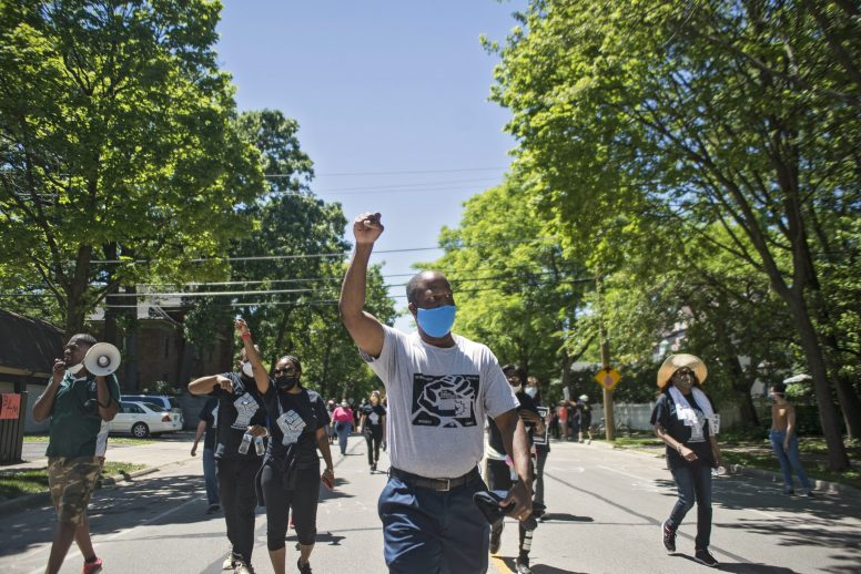 Mayor Rory Hoskins marched with residents and other leaders from Bellwood to Forest Park in a June 14 Black Lives Matter demonstration. | Alex Rogals, Staff Photographer