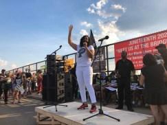 Sen. Kimberly Lightford speaks at the June 19 Meet us at the Bridge Juneteenth event on the Circle Avenue bridge. | Jason Maxham