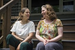 Rita Cassiano and Gingi Lahera on the front steps of their house and school at 1037 Marengo Ave. | Alex Rogals, Staff photographer