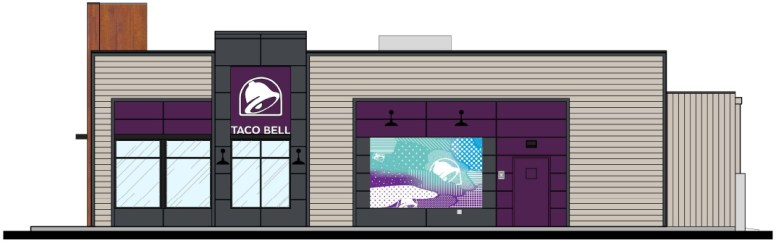 West elevation rendering of the proposed Taco Bell at 161 Harlem Ave. | Drawing by MRV Architects, Inc.