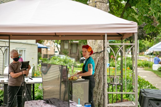 Chef Ashley Simone (right) gives a cooking demonstration during the Garden Walk. | Photo by Alexis Ellers