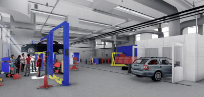 Rendering of the new main auto shop at Proviso East. | Perkins and Will