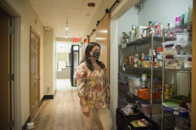 Carol Gall, executive director of Sarah's Inn, said the organization keeps a stock of food and personal care items for clients. | Alex Rogals, Staff Photographer