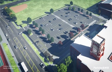 This Perkins & Will rendering shows what the Proviso East parking lot will look like after renovations.