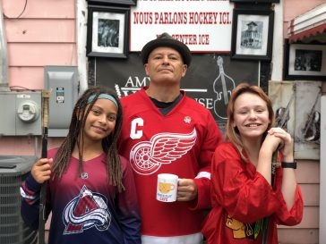 Mark Calahan (center), owner of the new Power Play Cafe, with daughter Elsie Calahan (left) and family friend Violet Korzatkowski. | Photo provided
