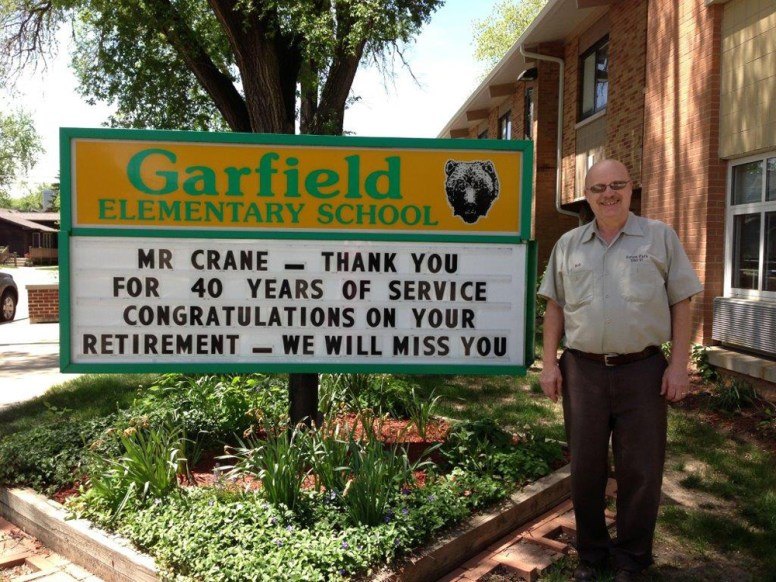 Hanging up the mop: Garfield School custodian Bob Crane was celebrated by the school Friday. He'll retire after 40 years at the school.Courtesy Garfield School