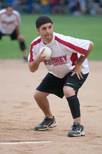 Monkey Softball pitcher Sammy Scala in action against the Nature Boys, Thursday, July 25, 2013. (David Pierini/staff photographer)