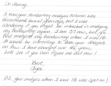 Joyce's letter from 2013.