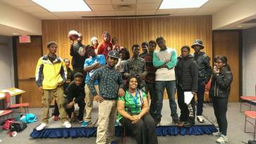 Teen librarian Regina Townsend with some teens during a recent open mike night. (Photo courtesy Alicia Hammond)