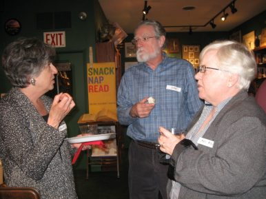 (Left to rigth) Hallie Ephron, John Cline, and Tracy Alesksy. (JACKIE SCHULZ/Contributor)