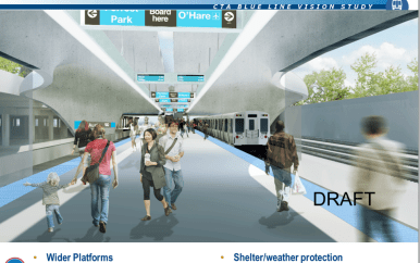 CTA's Blue Line Vision study includes images of Blue Line train platforms that are wider, sheltered from the elements and meet ADA accessibility standards. (Courtesy CTA)
