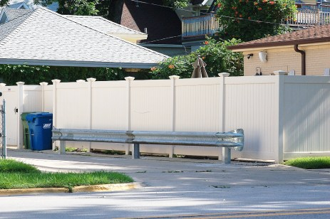 A municipal-grade traffic railing protecting the fence of Forest Park Mayor Anthony Calderone had some villagers griping the mayor was getting special privileges at taxpayer expense. (File photo)