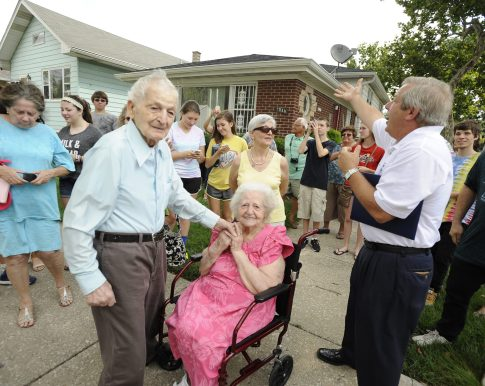 Forest Park residents Angelo and Dorothy Spinelli, who've lived in town for more than 65 years, were honored Saturday Aug. 30 with an honorary street sign in the 1100 block of Circle Avenue. The Spinellis (Angelo's turning 102 this year and Dorothy is 99) were joined by their sons Arthur and Benjamin and daughter Antoinette as well as grandchildren and great-grandchildren. (File photo)