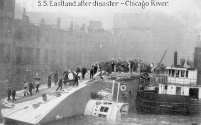 A postcard image of volunteers and personnel on the overturned hull of SS Eastland after it fell into the Chicago River. (Courtesy Eastland Disaster Historical Society)