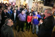 Forest Park Mayor Tony Calderone speaks to his supporters at Healy's Westside, after winning reelection on Tuesday, April 7, 2015. | CHANDLER WEST/Staff Photographer