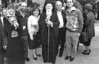 The Kaldis family on Easter in the Holy Land with a patriarch of the Greek Orthodox Church. | JACKIE SCHULZ/Contributor